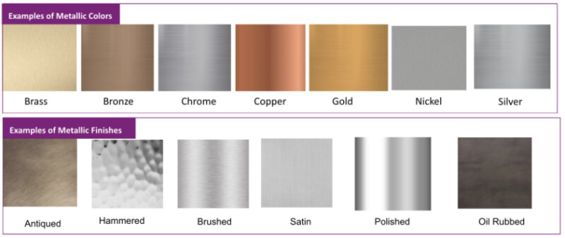 Swatches of metallic colors (brass, bronze, chrome, copper, gold, nickel, silver) are shown with swatches of metallic finishes (antiqued, hammered, brushed, satin, polished, oil-rubbed)