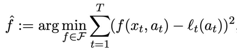 contextual bandit formulation for mean squared error between estimated reward and true reward