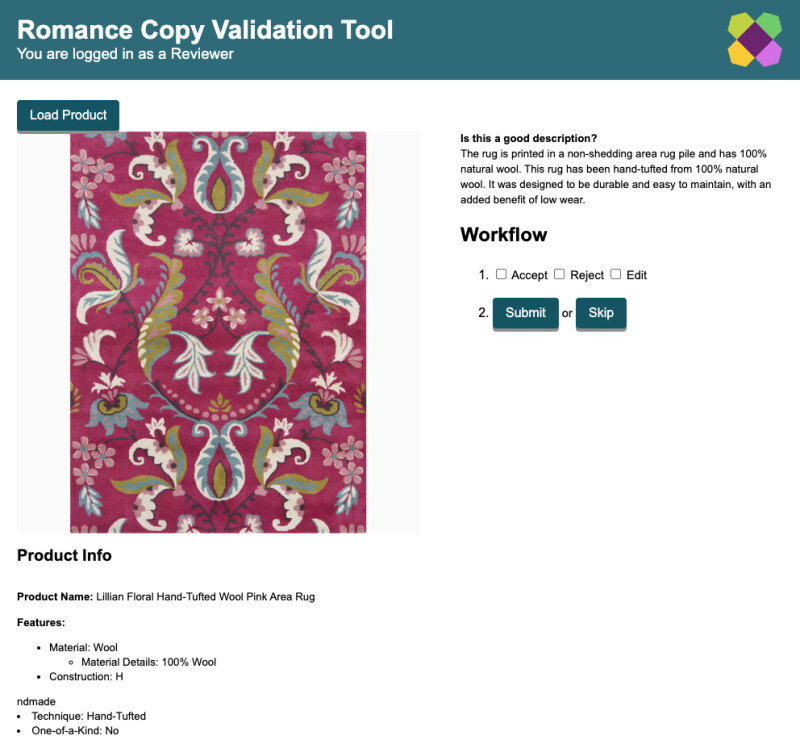 """Screenshot of TwAIn app shows an image of a rug, with a description and buttons to Accept or Reject the description. The description reads """"The rug is printed in a non-shedding area rug pile and has 100% natural wool. This rug has been hand-tufted from 100% natural wool. It was designed to be durable and easy to maintain, with an added benefit of low wear."""""""